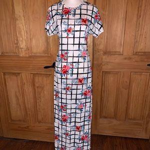 ❌SOLD❌ M LLR Plaid & Floral Maria Maxi Dress